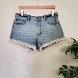 Free People Distress Crochet Shorts